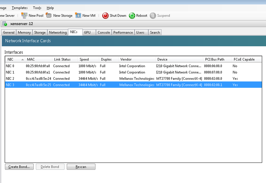 XSO-758] Xenserver failed to read speed of cards and fail to create